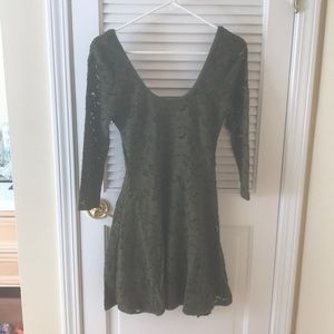 Free People Green Fit and Flare Dress